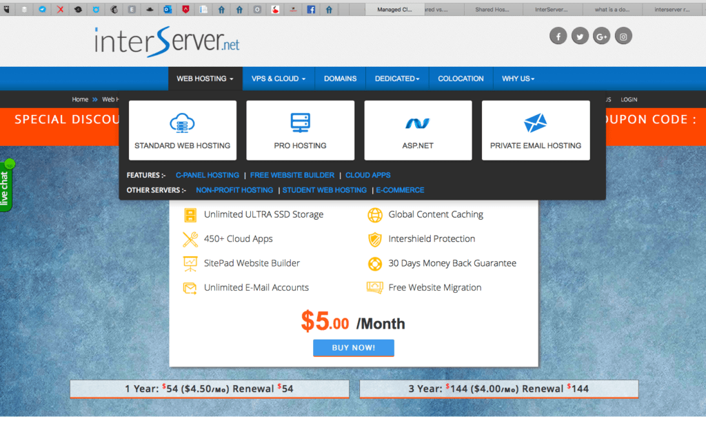 InterServer home page