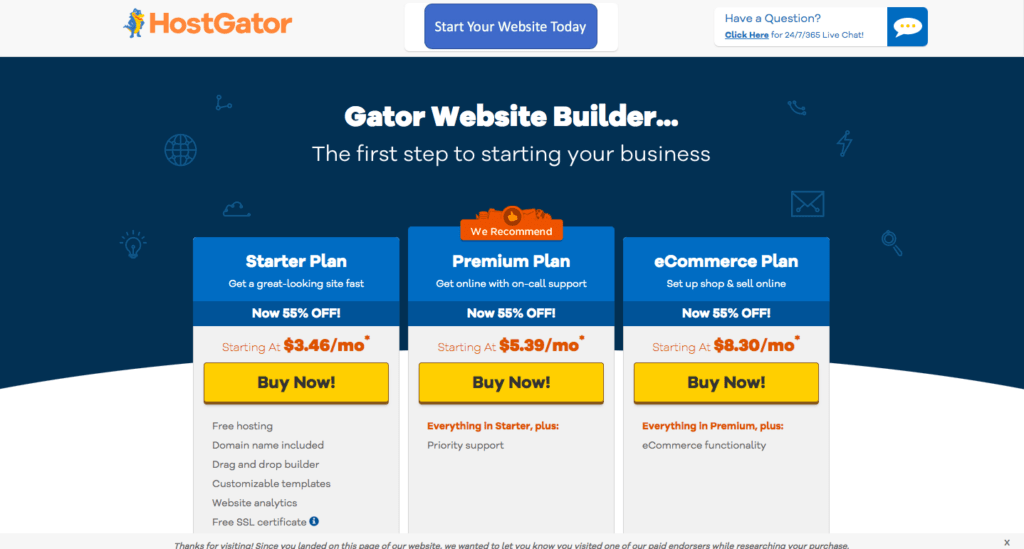 hostgator website builder - homepage