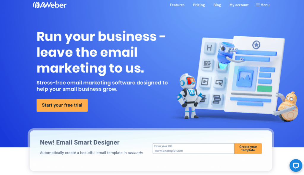 aweber email marketing home page
