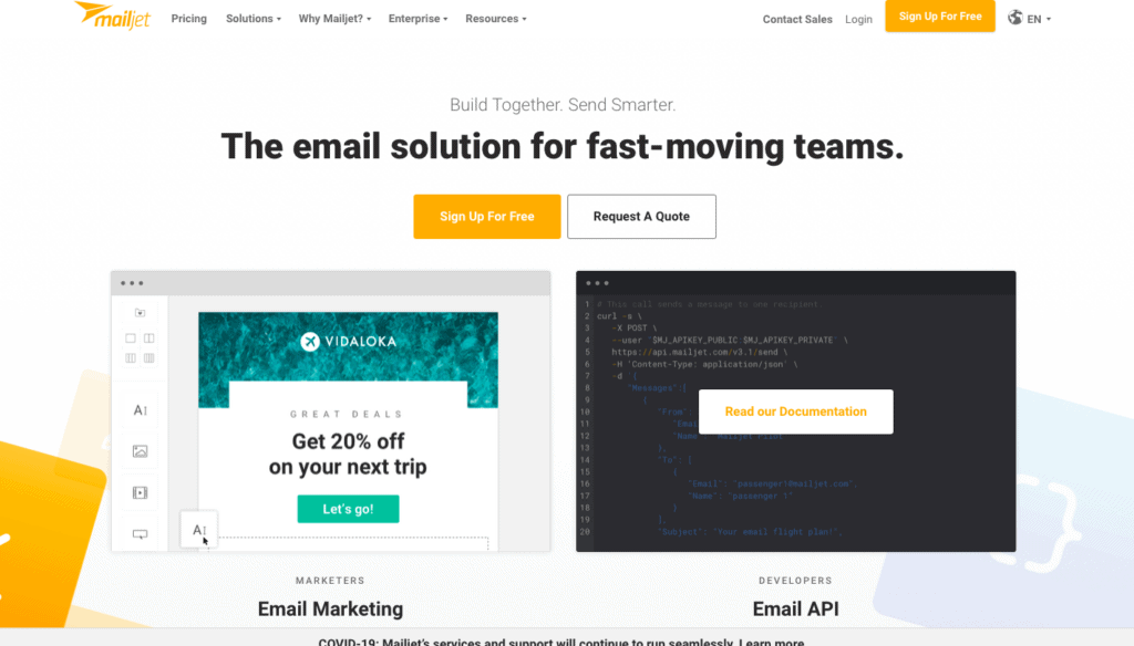 mailjet homepage - email marketing