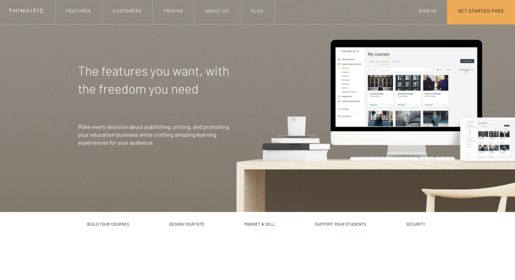 thinkific homepage - course platform