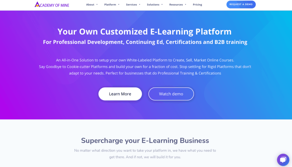 academy of mine homepage - online course platforms