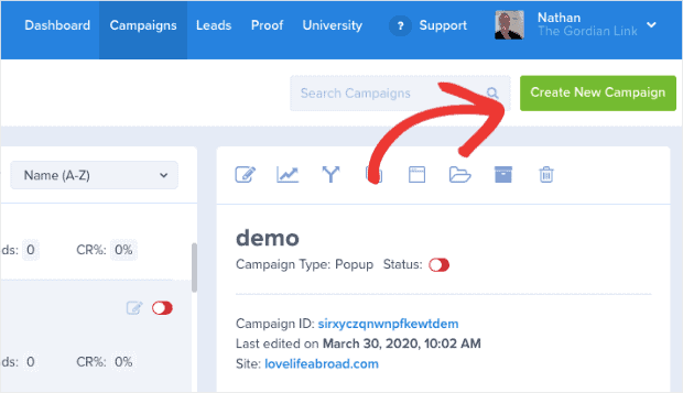 OptinMonster create new campaign -WordPress Announcement and Notification Bar